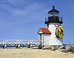 Brant Point Light in Spring, Decorated with Daffodil Wreath for Daffodil Festival, Nantucket Island