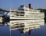"Cruise Ship ""Lac du Saint Sacrement"" at Dock on Lake George with Reflections, Adirondack Park"