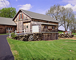 Natural Wood Barn with Tractor, Stonewall and Wagon Wheel, Crestcroft Farm