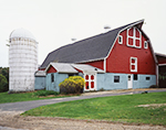 Big Red Barn with White Trim and White Silo, Royalston, MA