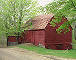 Old Red Barn and Maple Trees in Spring, Rockingham, VT