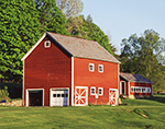 Two Red Barns with White Trim and Slate Roofs, Adirondack Park, Queensbury, NY