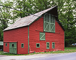 Red Barn with Green Trim and Slate Roof, Adirondack Park,  Crown Point, NY