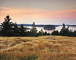 Predawn View from Meadow on Russ Island across to Merchant Row out to Isle au Haut in Distance, Penobscot Bay Region, Stonington, ME