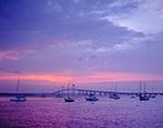 Sunset and Storm Clouds over Boats and Newport Bridge, Newport Harbor, Newport, RI