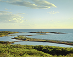 View of Gosnold Monument, West End Pond and Atlantic Ocean in Evening Light, Cuttyhunk Island, Elizabeth Islands, Town of Gosnold, MA
