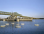 Small Sailboats, Braga Bridge and the USS Massachusetts in Battleship Cove, National Historic Landmark, Mt. Hope Bay, Fall River, MA