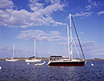 Boats in Cuttyhunk Pond under Blue Skies and Cumulus Clouds, Cuttyhunk Island, Elizabeth Islands, Town of Gosnold, MA