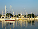 Early Morning Light on Sailboats in Mill Cove, Wickford Harbor, Wickford, Town of Kingstown, RI