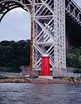Little Red Lighthouse (Jeffrey's Hook Lighthouse) under George Washington Bridge, Fort Washington Point, Hudson River, New York, NY