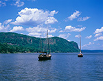View of Sailboats on Hudson River over to Cliffs on Hook Mountain at Rockland State Park, Tappan Zee Area of Hudson River, Upper Nyack, Clarkstown, NY