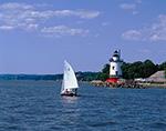 Sleepy Hollow Lighthouse (formerly Tarrytown or Kingsland Point Lighthouse) on Hudson River, Kingsland Point Park, Westchester County, Sleepy Hollow, NY