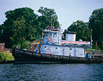 "Tugboat ""Gowanus Bay"" on Historic Kingston Waterfront, Rondout Creek off Hudson River, Hudson River Valley, Ulster County, Kingston, NY"