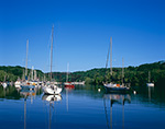 View of Sailboats at Moorings on Rondout Creek off Hudson River, Hudson River Valley, Ulster County, Kingston, NY