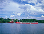 Red Tugboat and Red Barge on Hudson River off Catskill Point, Hudson River Valley, Greene County, Catskill, NY