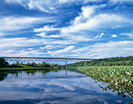 View of Marsh and Rip Van Winkle Bridge on Hudson River at Hallenbeck Creek, Hudson River Valley, Columbia County, Village of Greendale, Greenport, NY