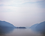 Foggy View of Pollepel Island in Hudson River Flanked by Mountains (Storm King, Crows Nest, Breakneck Ridge and Bull Hill), Duchess and Orange Counties, NY 