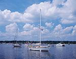 Sailboats at Moorings in Manhasset Bay, Long Island Sound, Long Island, Port Washington, North Hempstead, NY