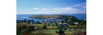 View of the Village and Manana Island, Monhegan Island, ME