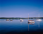 View of Boats in Calm Waters from Cousins Island, Casco Bay,  Yarmouth, ME
