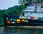 Close-up of Colorful Old Tugboat on Rondout Creek off Hudson River, Hudson River Valley, Ulster County, Kingston, NY 