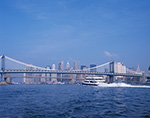 View of Manhattan with Manhattan Bridge, Brooklyn Bridge and Ferry from East River, New York County, New York, NY