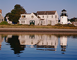 Hyannis Harbor Light with Reflections in Hyannis Harbor, Hyannis, Cape Cod, Barnstable, MA