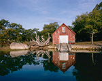 Red Boat House with Reflections in Hadley Harbor, Naushon Island, Elizabeth Islands, Town of Gosnold, MA