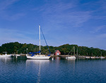 Boats in Hadley Harbor with Boat House on Naushon Island in Background, Elizabeth Islands, Town of Gosnold, MA