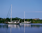 Sailboats in Hadley Harbor with Estate on Naushon Island in Background, Elizabeth Islands, Town of Gosnold, MA