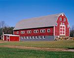 Big Red Barn under Bright Blue Skies in Late Fall, Belchertown, MA