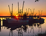 Shrimp Boats at Sunset, Battery Creek, Port Royal, SC