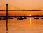 Sunrise over Jamestown Harbor and Newport Bridge,  Jamestown, RI