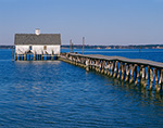 Boat House at End of Pier on Rappahannock River, Chesapeake Bay, Middlesex County, Wake, VA