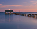Early Morning Light on Boat House at End of Pier on Rappahannock River, Chesapeake Bay, Middlesex County, Wake, VA