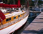 Sloop at Dock in Deltaville Marina, Piankatank River, Middlesex County, Deltaville, VA