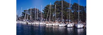 Sailboats in Slips at Stingray Point Marina, Rappahannock River and Chesapeake Bay, Middlesex County, Stingray Point, VA