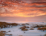 Sunrise over Atlantic Ocean and Dunes on Ocracoke Island, Cape Hatteras National Seashore, Outer Banks, Ocracoke Island, NC