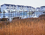 Marsh, Condos, and Sport Fishing Boats at Pirates Cove, Rudder Village, Roanoke Island, Outer Banks, Manteo, NC