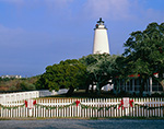 Ocracoke Light and White Fence with Holiday Garland and Red Bows, Ocracoke Island, Cape Hatteras National Seashore, Outer Banks, NC