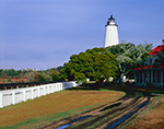 Ocracoke Light with Holiday Wreath, Driveway and White Fence, Ocracoke Island, Cape Hatteras National Seashore, Outer Banks, NC