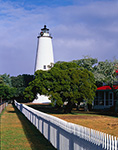 Ocracoke Light with Holiday Wreath and White Fence, Ocracoke Island, Cape Hatteras National Seashore, Outer Banks, NC