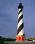 Cape Hatteras Lighthouse in Early Morning Light and Dark Clouds, Cape Hatteras National Seashore, Outer Banks, NC