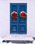 Old Wooden Church Doors with Snow-covered Wreaths, North Congregational Church of New Salem, New Salem, MA