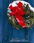 Snow-covered Wreath on Old Wooden Church Door, North Congregational Church of New Salem, New Salem, MA