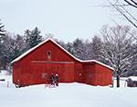 Red Barn at Hunt's Farm after Snowstorm, New Salem, MA