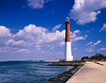 Barnegat Lighthouse under Blue Skies and Cumulus Clouds, National Register of Historic Places, Barnegat Lighthouse State Park,  Barnegat Light, NJ