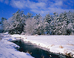 Lawrence Brook in Winter under Sunny, Blue Skies after Snowfall, Royalston, MA