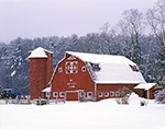 Big Red Barn and Silo during Snowstorm at My Valley Farm, Northfield, MA