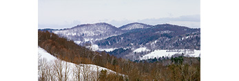 Winter View of Rolling Vermont Mountains and Forests in Winter,  Pomfret, VT